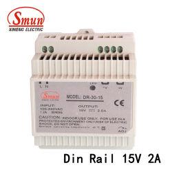 Le Dr-30-15 30W 15VCC 2A AC-DC Alimentation de commutation sur rail DIN