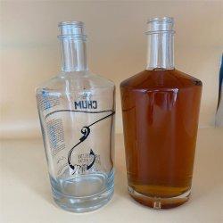 750ml löschen Wodka-Flaschen-exklusive leere Glasflasche für Whisky-Alkohol mit Firmenzeichen-Drucken