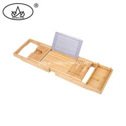 Hidromassagem Bandeja Caddy estendendo os lados de madeira de bambu Tablet Wineglass Telefone / banheira titular