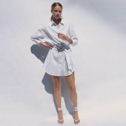 Nuevo diseño de manga larga 100% algodón camisetas ropa vestidos de blanco Poplin