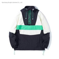 一致の袖レターヘッドプリントプルオーバーのHoodieの偶然のジャケットの人のコート