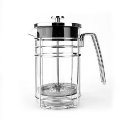 1,0l / 34 Oz Chrom Tee Kaffee Presse Qualität Premium Borosilikatglas Französisch Presse Kaffeemaschine mit Edelstahl Kaffee Filter