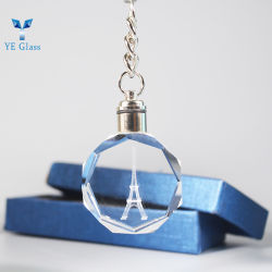 Kristallglas Schlüsselanhänger Eiffelturm geschnitzt innen mit Laser Für Dekoration