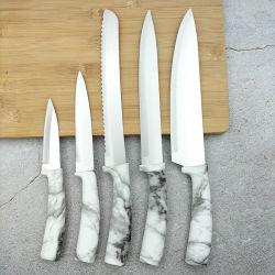 Couteau de cuisine en acier inoxydable à poignée souple et marbrures, 5 pièces