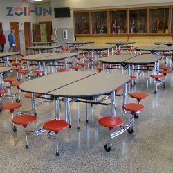 مطاعم الوجبات السريعة المدرسية أثاث كافيتريا توفير مساحة لتناول الطعام بالكافيتريا مجموعة الطاولة والترأس 8