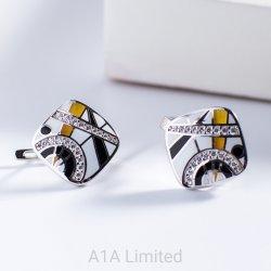 L'orecchino caldo dell'argento di modo di vendita per lo Zirconia cubico dello smalto delle donne ha intarsiato i monili dell'argento sterlina 925