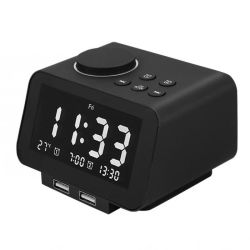 Pantalla LCD pantalla Termómetro Digital Radio Reloj Despertador de carga USB
