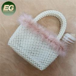 Peb14 de Parel van de Handtassen van de Manier van de Met de hand gemaakte Hoogste die Vrouwen van het Handvat van de Luxe en de Handtas van de Wol met Bont wordt gepareld