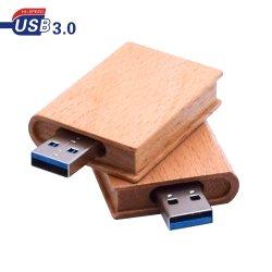 تخصيص الشعار قلم USB Flash Drive Memory Stick USB 3.0 محرك أقراص USB سعة 8 جيجابايت وسعة 32 جيجابايت و64 جيجابايت من نوع Pendrive Book الخشبي هدية Flashdrive