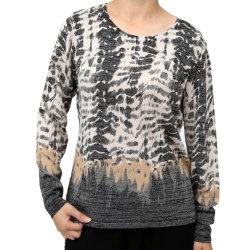 여성용 New Long Sleeve Round Neck Printed Pulover Sweater