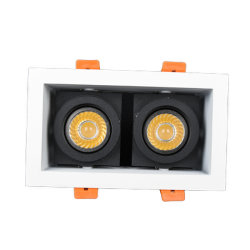 LED-Einbaustrahlergehäuse mit Lampenfassung GU10 und MR16 Aus Aluminium Material quadratischen Rahmen mit doppelten Köpfen