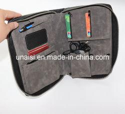 ビジネスPUの革ポートフォリオ文書はケース袋を運ぶ