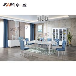 Dubai Home alta de muebles de madera blanca brillante juego de mesa de comedor