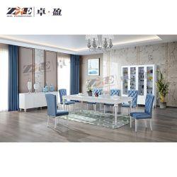 Maison moderne de meubles en bois blanc brillant haute Table à manger ensemble