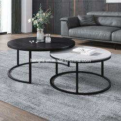 현대적인 홈 거실 가구 골드/블랙 메탈 프레임 대리석 최고의 커피 테이블