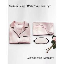 Personalizzare i pigiami di seta della camicia da notte del raso lungo di seta dei manicotti per le donne