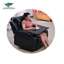 ساخن كهربائيّة [ركلينر] كرسي تثبيت جلد أريكة مع [أتّومن] أسود لوند