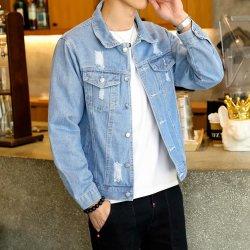 Giacca in denim blu scuro con disegno personalizzato e punto dipinto uomo