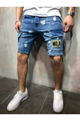 人のジーンズは夏の暗藍色の白いすり切らされた穴の膝の長さのデニムの不足分のジッパーのはえの偶然の不足分をショートさせる