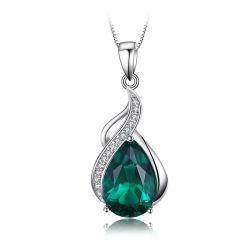 Imitazione all'ingrosso Perla creato Collana Smeralda Ciondolo 925 argento sterling Gioielli