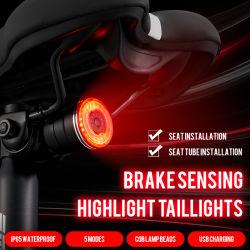 자전거 액세서리 후미등 IPX6 방수 LED USB 충전식 스마트 리어 브레이크 LED 조명