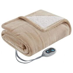 Hochwertige Custom Logo / Print Winter Wärmer Ultra Soft Sherpa Fleece Wrap Heizung Elektrische Decke Überwurf