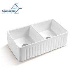 Aquacubic 대중적인 백색 사기그릇 부엌 개수대 두 배 사발