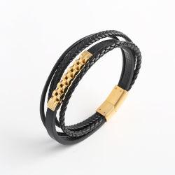 Acier inoxydable plaqué or Bijoux de mode Bracelet en cuir