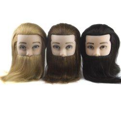 100% de varones cabello humano real Maniqui formación práctica de la cabeza con barba Peluquería Peluquería muñeca maniquí Jefe de la escuela de la Belleza.