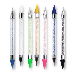 Penna colorata a doppia testa rosa bianco blu verde cera nera Crystal Picker Nail Art Rhinestones che dota matita