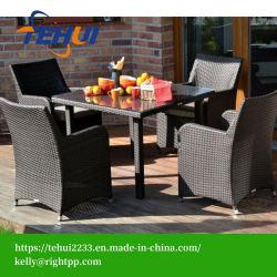 Th1201 Patio Jardin Table à manger chaise de salle à manger ensemble des meubles en rotin noir
