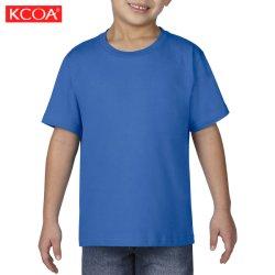 China Azul Imprimir fábrica de algodón cuello redondo Camiseta para niños