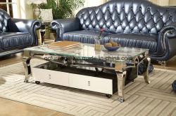 Reeks van de Koffietafel van het Roestvrij staal van de luxe de Marmeren Hoogste Vierkante