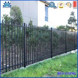 /Residential/-Handelsstahlstangen-Oberseite-Pfosten-Sicherheits-Röhrenzaun-Aluminium-Zaun des schwarzen Puders beschichteter