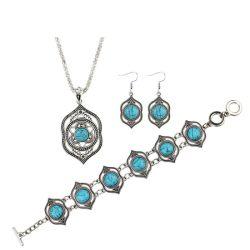 Mode Silber Farbe Türkis Ohrringe Armband Halskette Imitation Schmuck Set
