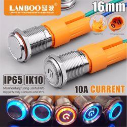 Lanboo 16b 10A High-Current en acier inoxydable 304 commutateurs à bouton poussoir métallique avec bague LED allumé