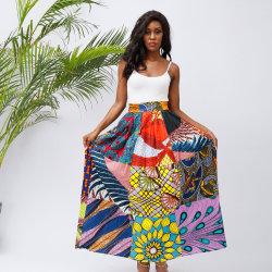 Comercio al por mayor tamaño de impresión personalizada Plus africanos Vintage Patchwork falda larga