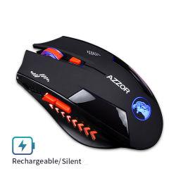 Ratón inalámbrico silencioso juego Ratón óptico USB silenciosos ratones recargables de 2400dpi Batería integrada para PC Portátil