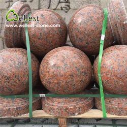 La bola roja de Arce natural de piedra de granito de estacionamiento, Ronda las barreras de estacionamiento