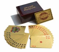 Золотые игральные карты с деревянными Подарочная упаковка