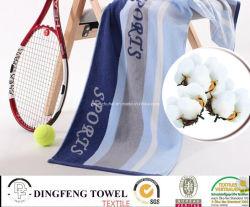 100% хлопчатобумажная пряжа Вся обшивочная ткань жаккард спорта теннис полотенце