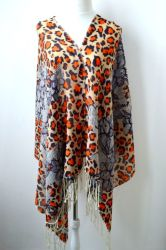 Пользовательская ОС Snow Leopard цифровой печати 100% австралийских Мерино шерсть Шаль для женщин