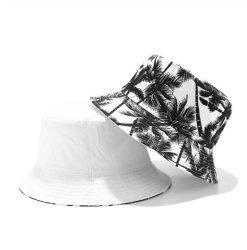 Moda unissexo reversível de Verão Preto Branco Coqueiro impressas com chapéus de caçamba