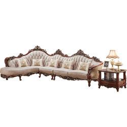 Coin du bois de couleur en option canapé en cuir pour meubles de salle de vie