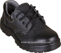 La production en usine et en cuir souple noir Litchi Stria Chaussures de sécurité