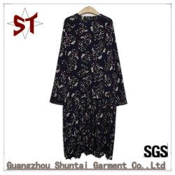 Poliéster barato al por mayor de estilo largo vestidos damas con patrón de la planta