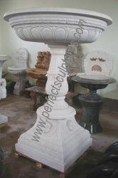 L'artisanat pierre sculptée bols ronde semoirs sculpture en marbre blanc naturel des pots de fleurs (BAA117)