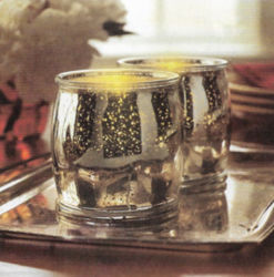 Máquina hecha de oro de galvanoplastia Tealight portavelas de vidrio/Cristal Pot