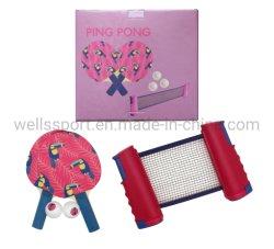 Insieme portatile della racchetta di ping-pong di vendite calde con la pala netta ritrattabile della racchetta di Pong di rumore metallico