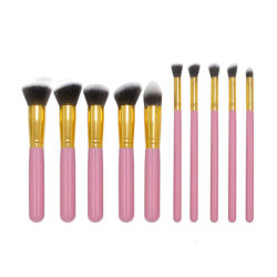 10HP Premium Conjunto de escova de maquiagem Maleta de ferramentas incluem o Kabuki Sintético Cosméticos Corar Blend Fundação Face Eyeliner Escova de pó